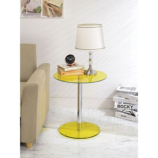 Buy Halley End Table, Yellow Glass & Chrome by Benzara Inc on Dot & Bo