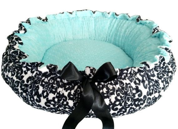 Black and White Damask Minky Pet Bed with Tiffany Blue Dot Small on Etsy, $70.00