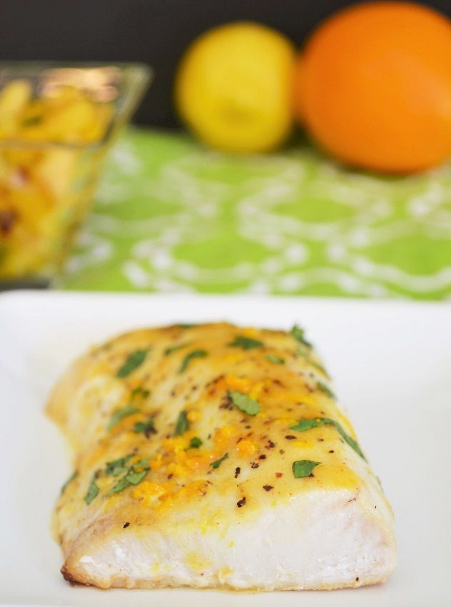 Baked Mahi Mahi with Spicy Citrus Glaze - Healthy food doesn't need to be boring! Yasemin Aksu