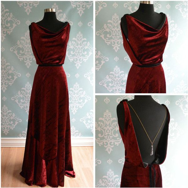 Backless Velvet Wedding Gown, 1930, 1920, Art Deco, Vintage Inspired,... ($800) ❤ liked on Polyvore featuring dresses, gowns, long velvet dress, velvet gown, long red dress, red backless dress and long red gown