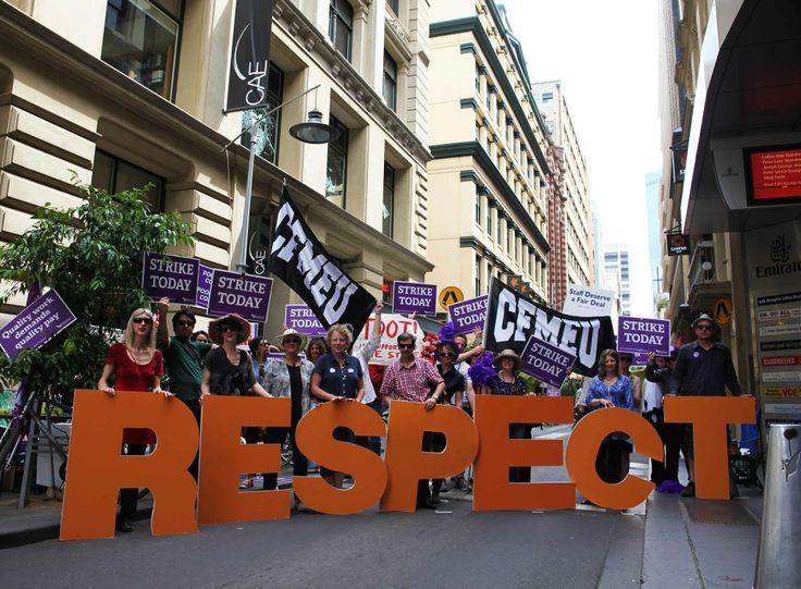 CAE teachers on strike in Flinders Lane