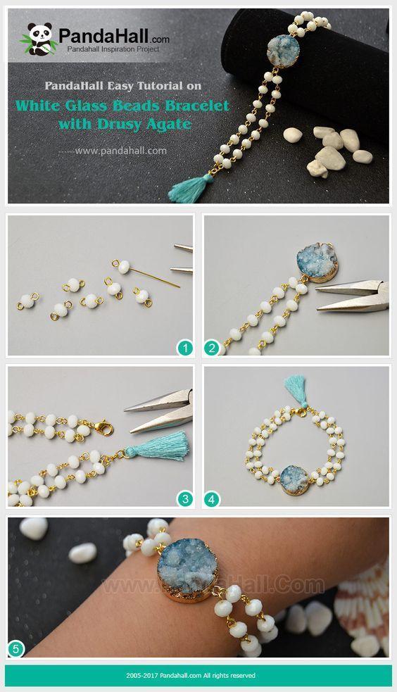 White Glass Beads Bracelet mit Drusy Agate Mit weißen Glasperlen und … – Schmuck basteln