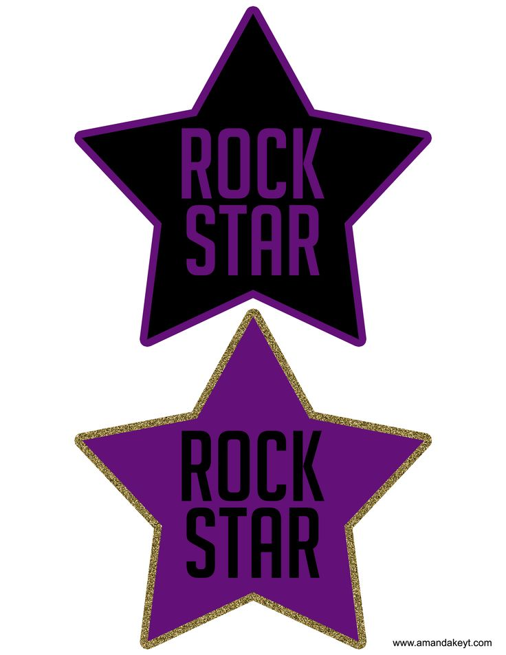 Stars from Rock Star Purple Gold Silver Glitter Printable Photo Booth Prop Set
