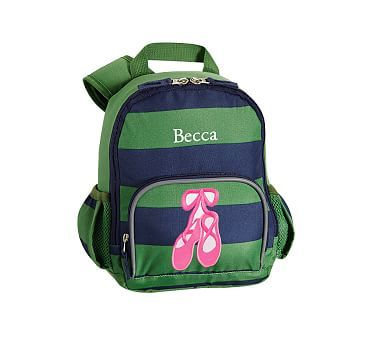 Pre-K Backpack, Fairfax Green/Navy Stripe Ballet Shoes