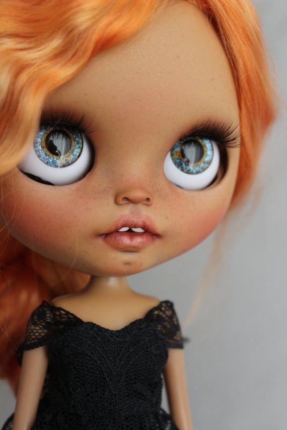 Ooak custom blythe doll Aimee (tbl) with mohair weft hair