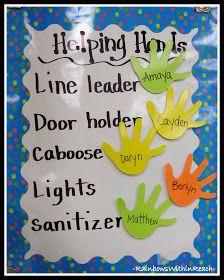 photo of: Kindergarten Job Chart via RainbowsWithinReach