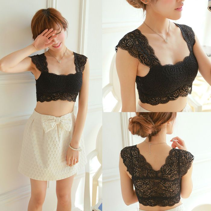 Women Floral Lace Low Cut padded blouses / crop tops / cut corsets/ bra - L / Manage Products / Catalog / Magento Admin