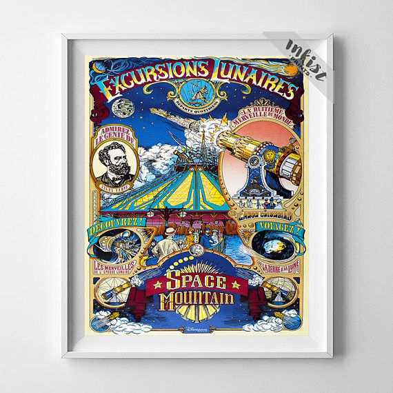 Disneyland Poster, Vintage Disneyland, Space Mountain, Disney Attraction, Excursions Lunaires, Gift Idea, Gift For Her, Wall Art. PRICES FROM $9.95. CLICK PHOTO FOR DETAILS. #nursery #disneyland #disney #babyroom #inkistprints #homedecor #wallart #walldecor #decoration #gift #giftforhim #dorm #poster #print #babygift