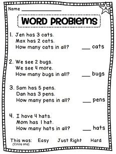 Addition word problems that are easy for little ones to read! Perfect for first grade adding numbers practice