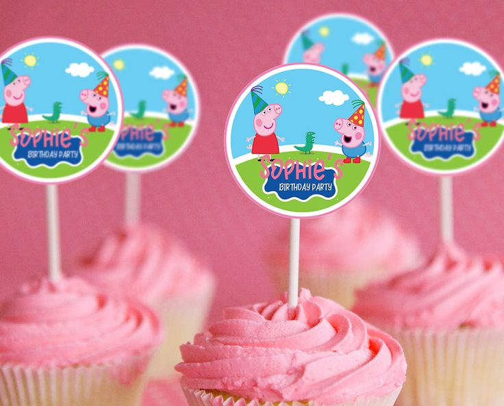Peppa Pig Birthday Party | Peppa Pig Cupcake Toppers | Peppa Pig Party Supplies | Peppa Pig Party Ideas for Kids - get it here: www.bdayprints.com