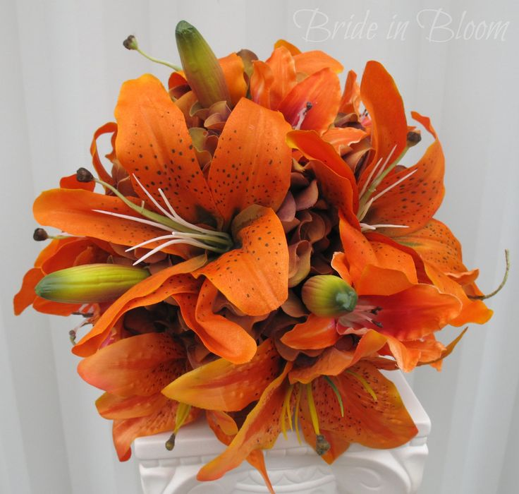 Tiger lily Wedding Bouquet silk bridal bouquet orange red Autumn fall wedding flowers. $100.00, via Etsy.