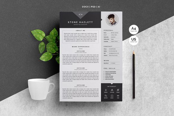 Modern Resume Template 4 Pages by Whitegraphic on @creativemarket