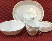 Vintage Corelle Dishes ~ Gold Butterfly Pattern ~ Corning Ware ~ Group of Meat Patter, Serving Bowl, Tea or Coffee Cups and Saucers ~ Retro