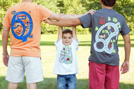 SET Matching Father Son T-Shirt Gift Idea Dad Son - Race Track Car Playmat  Adult Grey-Orange & Kid White-Blue