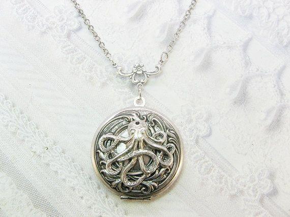 Silver Locket Necklace Silver Octopus Locket   by by birdzNbeez, $28.00