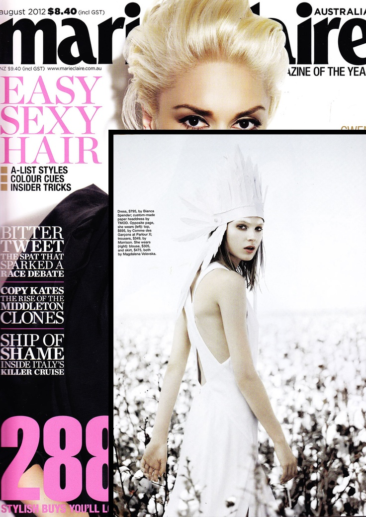 TMOD custom paper headdress for Marie Claire August 2012
