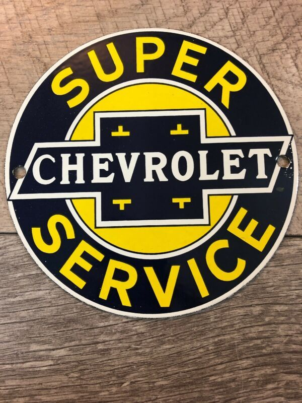 6 Chevrolet Genuine Parts Oil Gasoline Porcelain Enamel