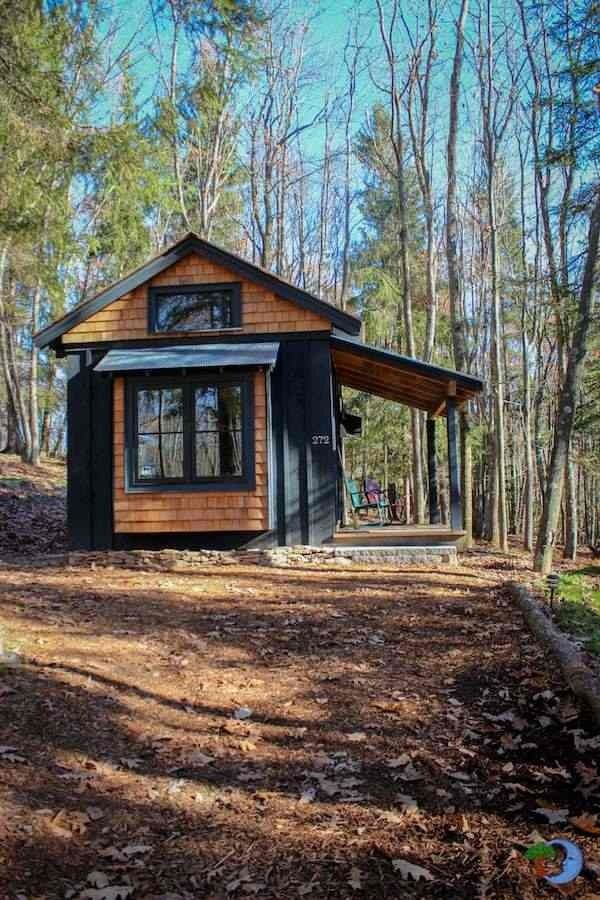 A tiny cedar shake cabin with bedroom on the ground floor for Cedar shake cottage