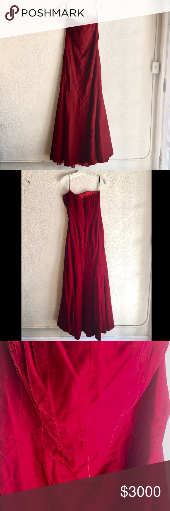 Reva Mivasagar Red Velvet Strapless Gown Dress M Reva Mivasagar Red Velvet Strapless Gown Dress M reva mivasagar Dresses Wedding