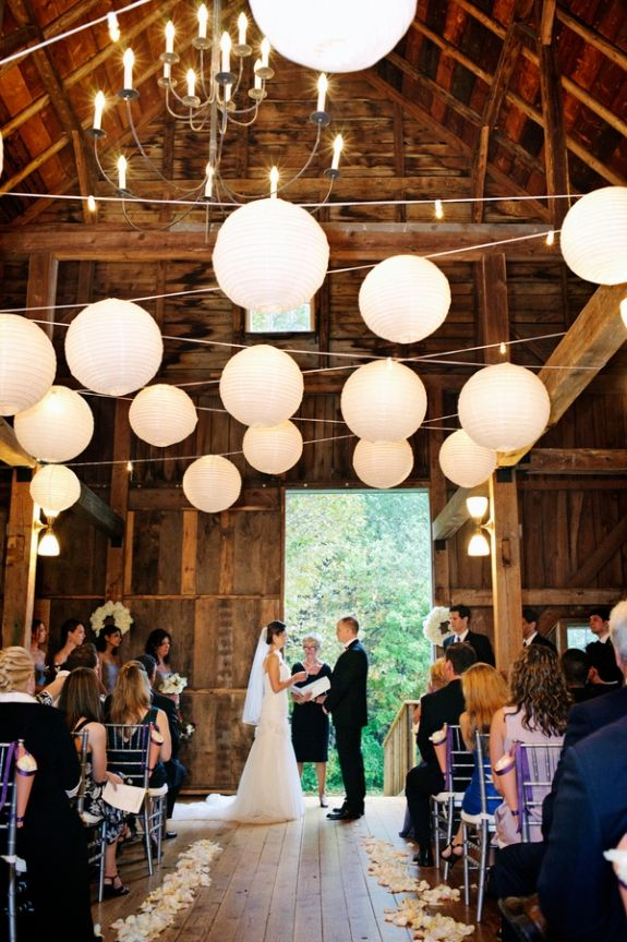 """barnyard wedding, string lights and promises are all about love and more love. You can get this look using 12"""" or 14"""" inch (or both) white even ribbing paper lanterns <3"""