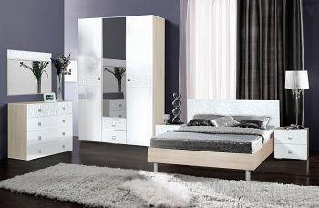 Спальня Винтаж (Ясень шимо светлый/Белый глянец МДФ)