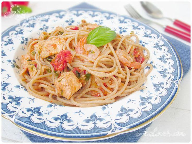 Черные спагетти с креветками  Кулинарные рецепты с фото