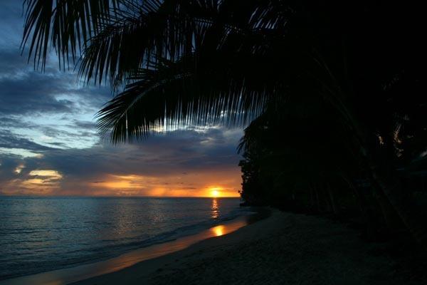 Beautiful, romantic sunset at Maninoa Surf Camp #samoa