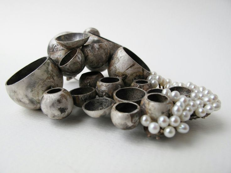 Brooch, silver and freshwater pearls