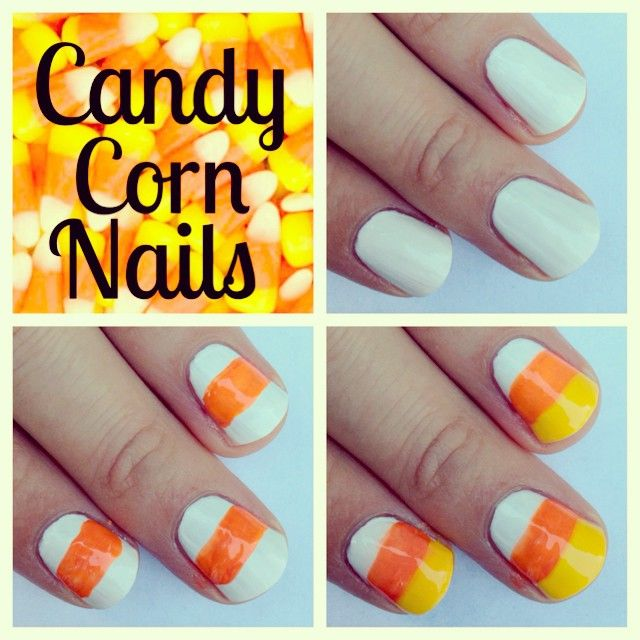 Easy Candy Corn nail art tutorial | Halloween Crafts and ...