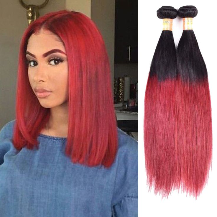 "300g 20"" Real Human Hair Extension 3Bundles 1B/BURG Straight Hair Weft Weave #Unbranded #StraightBundle"
