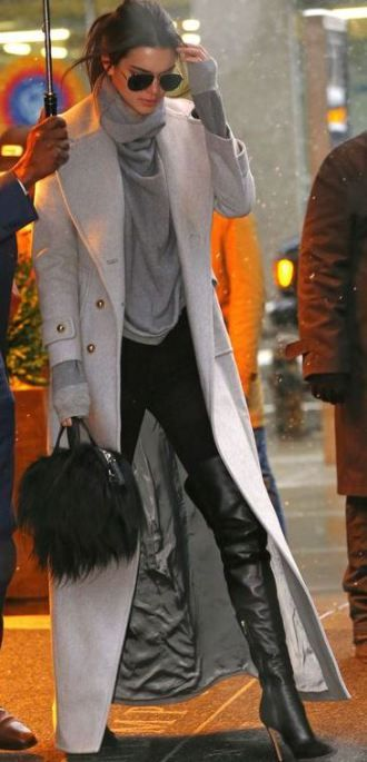 I love this long wool coat paired with these over the knee leather boots