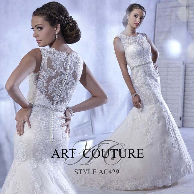 I butikk <3 ABELONE.NO <3 Mermaid lace wedding dress with illusion bateau neckline and beaded waist detail. AC429 is available in Ivory, White or Ivory Gold as pictured.#artcouture #eternitybridal #weddings #bigday #bridal #bridalgowns #gettingmarried #weddingfashion #weddingdress