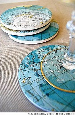 DIY: Map Coasters Also, a good idea for those really ugly coasters you have.