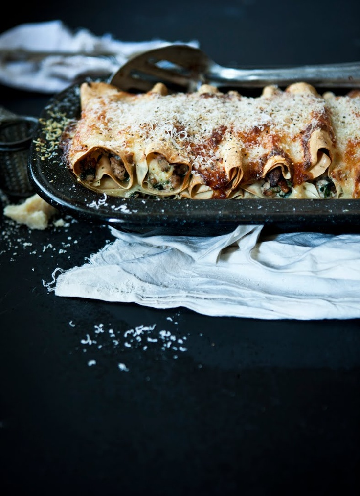 Cannelloni with chicken, mushrooms, spinach, and walnuts // What Katie Ate