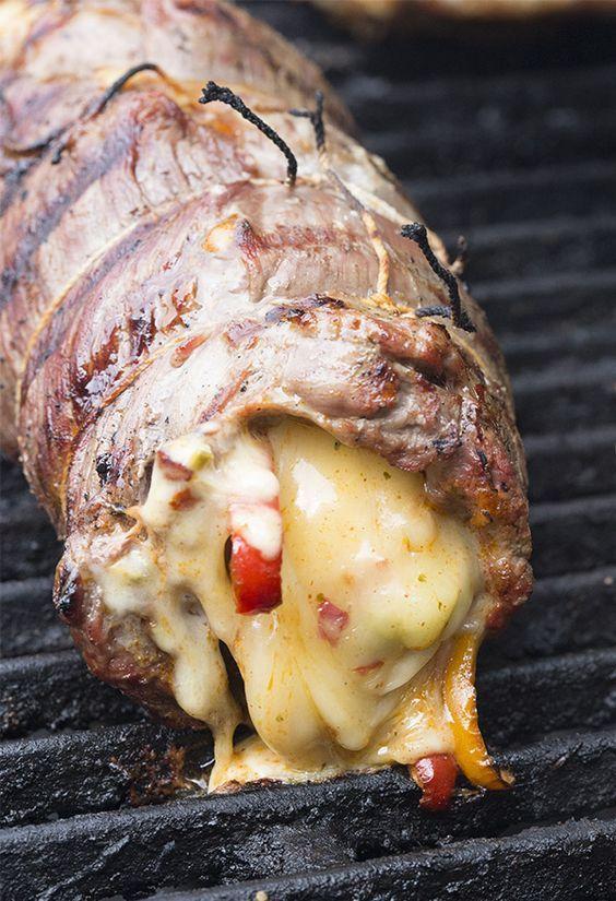 Grilled Stuffed Flank Steak Recipe. Get...In...My...BELLY!!!