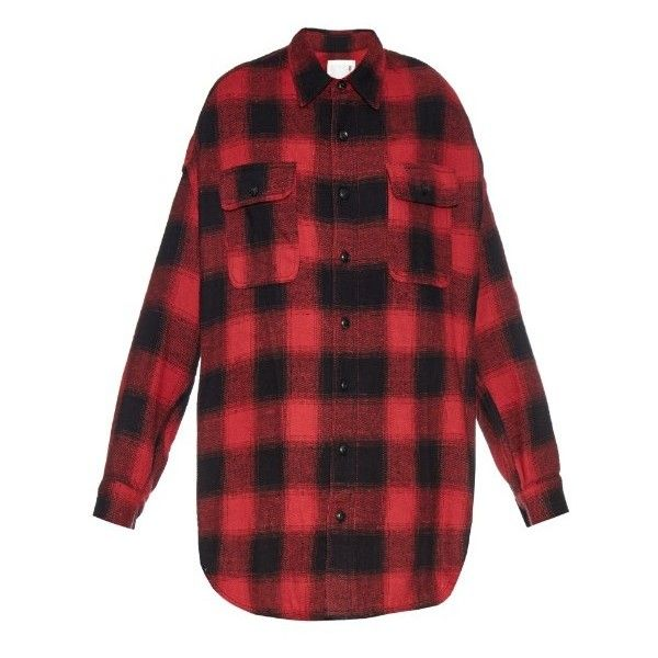 R13 X-Oversized checked-cotton shirt (1.140 BRL) ❤ liked on Polyvore featuring tops, shirts, black red, black cotton top, black top, black oversized shirt, red top and red checked shirt