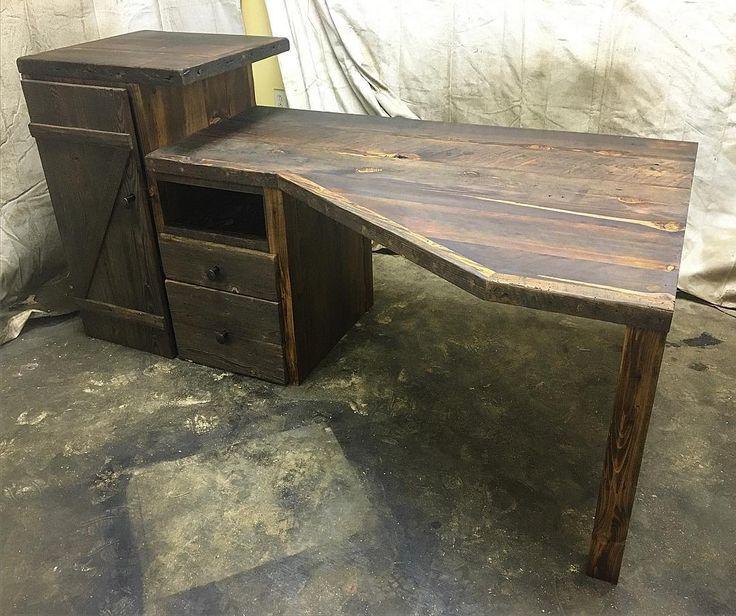 A corner desk built for a customer's home office! #desk #cornerdesk #office…