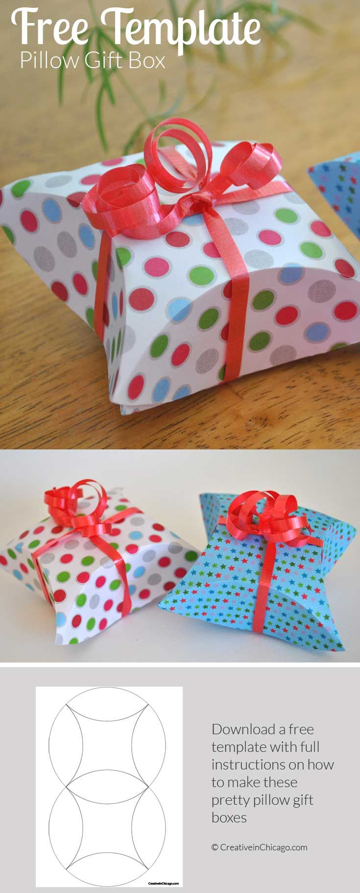 How To Make A Pillow Gift Box With Free Template Gift Box Template Homemade Gift Boxes Diy Gift Box Template