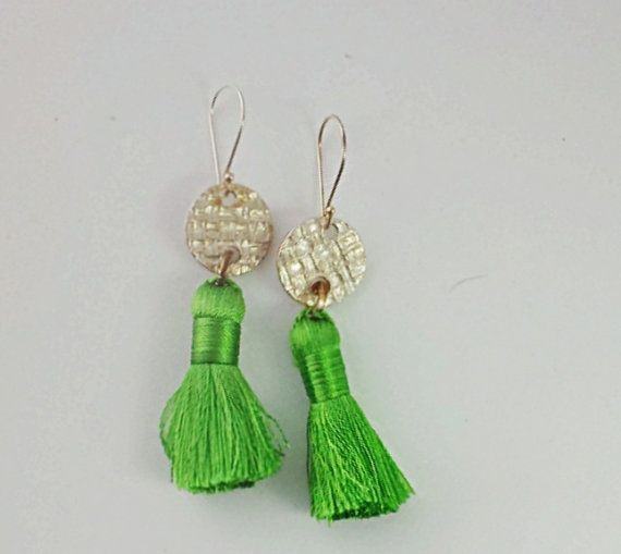 Handmade Fine Silver and Bright Apple Green Silk by donnaohdesigns