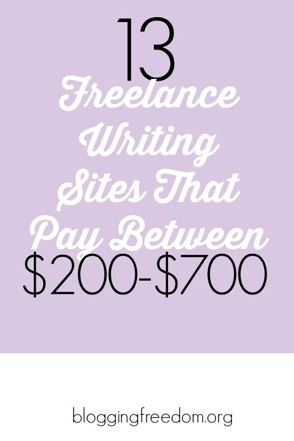Great list of sites that'll pay hundreds of dollars to write--check it out!