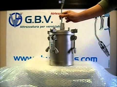 Serbatoio sottopressione GBV airless / Pressure vessel made of stainless steel with pressure control product and shaker Automatic Capacity: 10 lt. / Min. 20 lt. / Min. 50 lt. / Min. Max: 4.1 bar / Судно давления из нержавеющей стали с регулятором давления продукта и шейкер Автоматическая Вместимость: 10. Л / мин. 20 л. / Мин. 50 л. / Мин. Макс: 4.1 бар