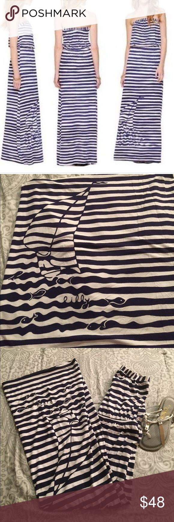 """Lilly Pulitzer Nautical Maxi Dress- size S Navy and white striped strapless Lilly Pulitzer emmett yacht yard maxi dress in size small.  Sailboat design near bottom of dress. Approximately 52.5"""" long. Lilly Pulitzer Dresses Maxi"""
