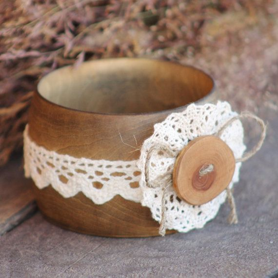 Wooden bracelet, popular now style mori girl, forest Girl, boho style. The bracelet is made of basswood, tinted, covered with natural wax, decorated with delicate cotton la... #etsy