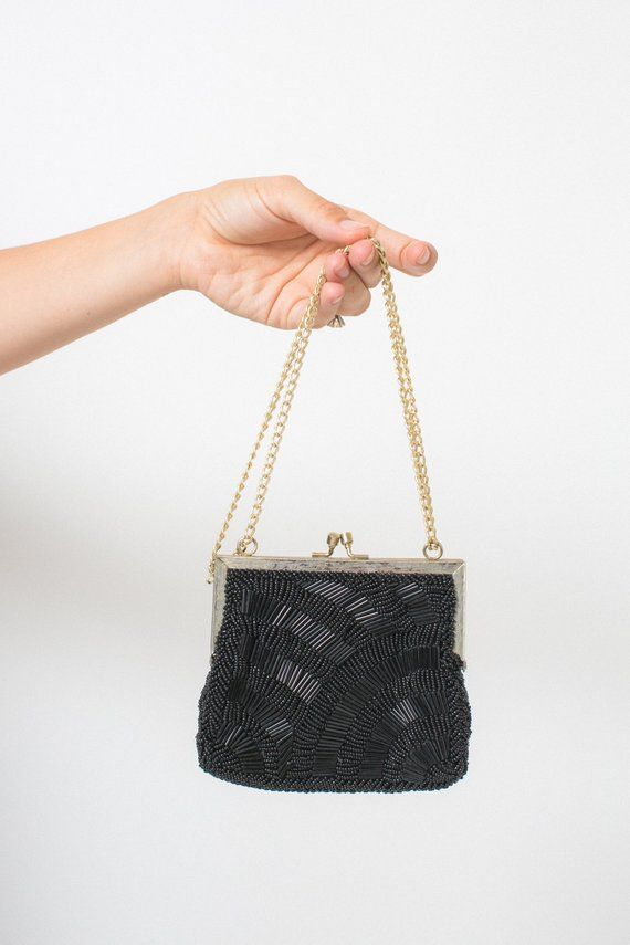 1b8ec4ca3a539 BEADED 50s 60s purse vintage WALBORG purse black beaded 1950s 1960s evening  purse WEDDING purse adju