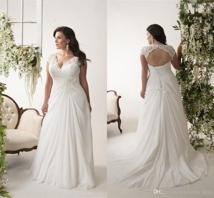 New Plus Size Beach Wedding Dresses 2016 V Neck Appliques Lace Backless Sweep Train Chiffon Elegant Bridal Gowns Vestidos De Noiva Cheap Wedding Dresses Beach Wedding Dresses Plus Size Wedding Dresses Online with $155.0/Piece on Cinderella_shop's Store | DHgate.com
