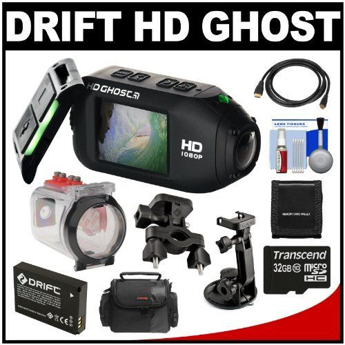 Drift Innovation HD Ghost Wi-Fi Waterproof Digital Video Action Camera Camcorder with Underwater Housing + Suction Cup & Bike Mounts + 32GB Card + Battery + Accessory Kit