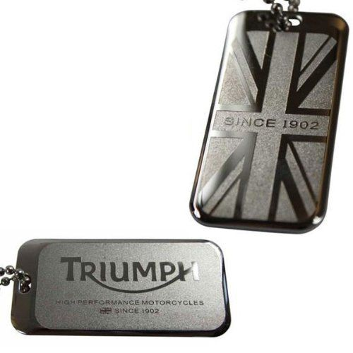 """The Triumph Dog Tag Necklace is new for 2013 and part of the Triumph Premium Collection. Features an etched Triumph Logo and Union flag with """"High Performance Motorcycles Since 1902"""" script."""