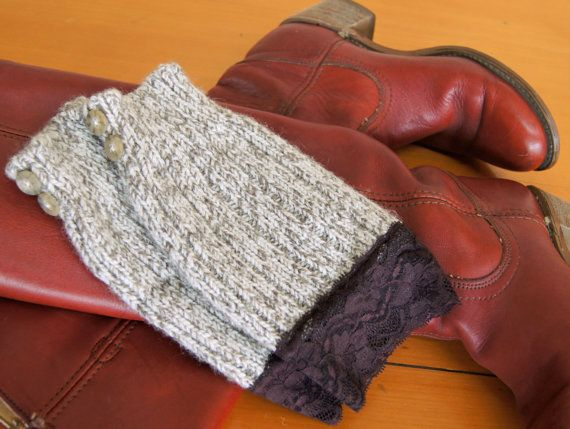 Boho Boot Cuff Leg Warmers - Upcyled Wool Socks with Buttons & Stretchy Lace Trim (70s Boho Boots)