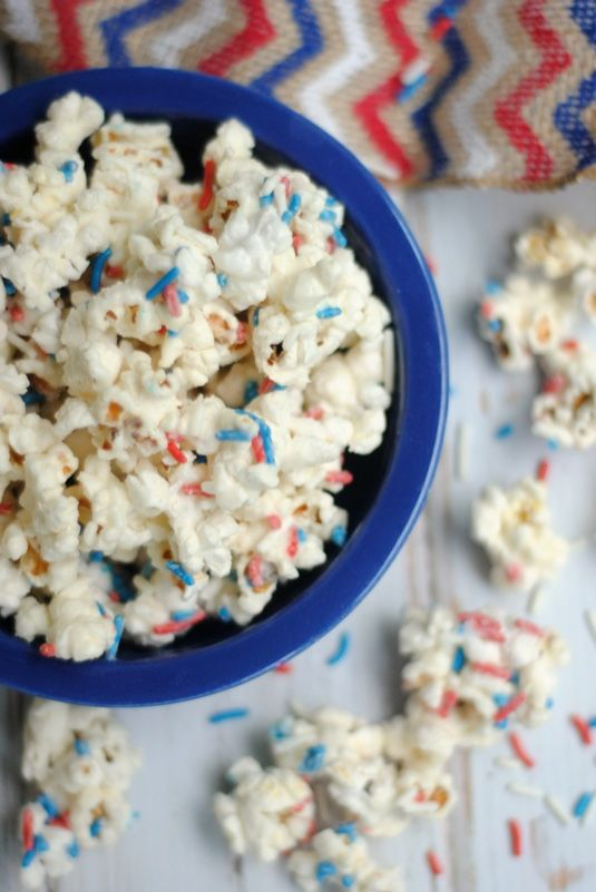 Funfetti White Chocolate Popcorn   Spiderman Party Food Idea