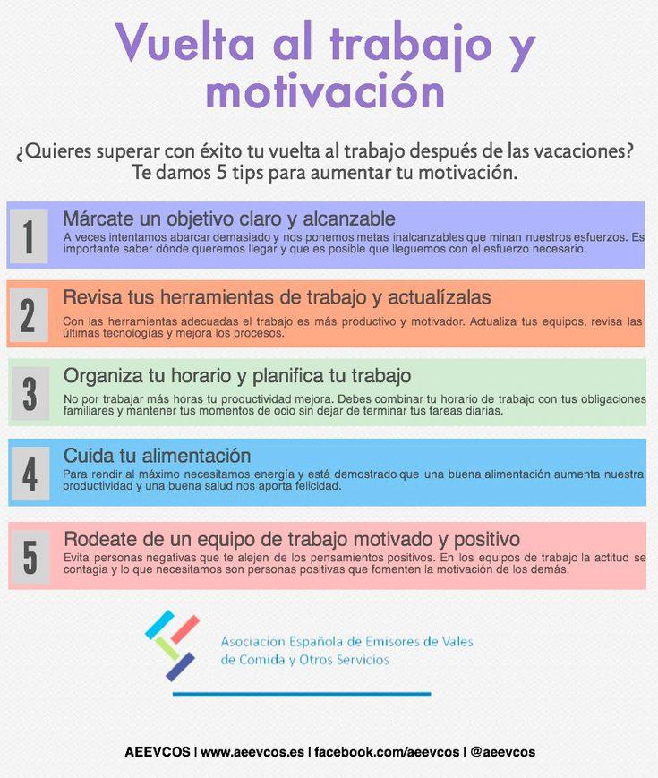 5 consejos sobre la vuelta al trabajo y motivación #infografia #infographic #rrhh vía: aeevcos